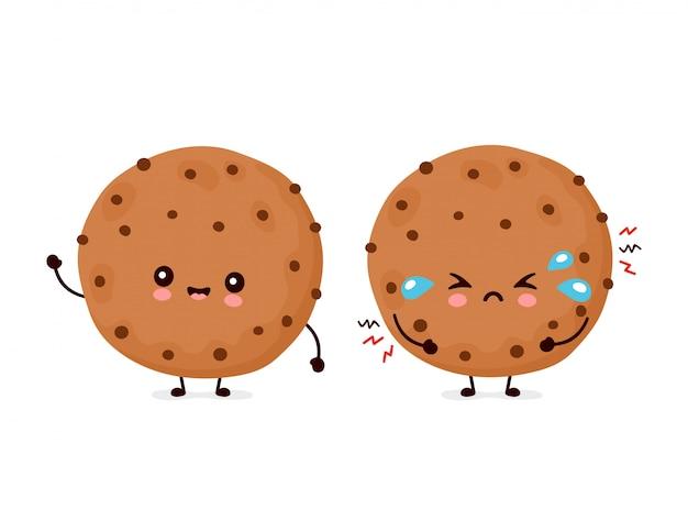 Linda feliz y triste divertida galleta de chocolate. diseño de icono de ilustración de personaje de dibujos animados.