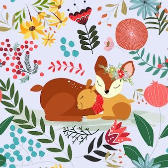 Linda flor de color rosa y azul floral y ciervos madre e hijo de patrones sin fisuras