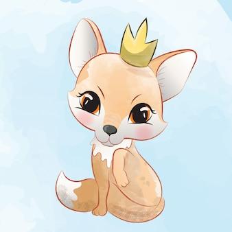 Linda fox princess sentada