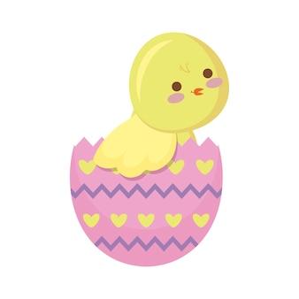 Linda gallina de pascua en huevo
