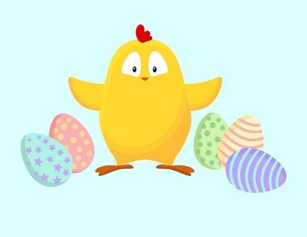 Linda gallinita amarilla con dibujos animados de huevos de pascua