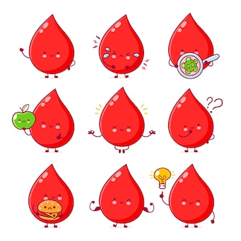 Linda gota de sangre divertida feliz set colección