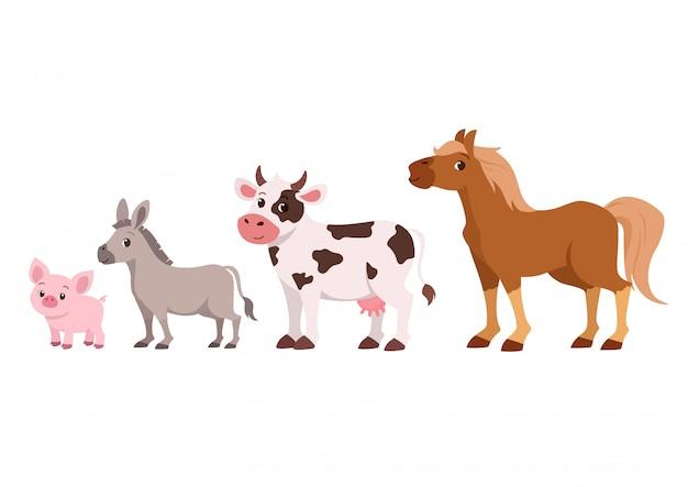 Linda granja de ganado feliz