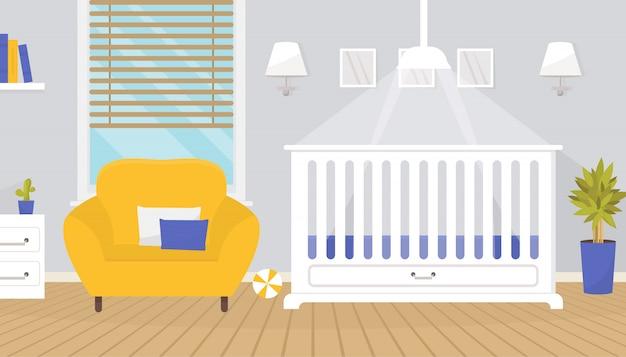 Linda habitación de bebé interior con muebles