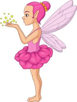 Linda hada de dibujos animados sopla estrellas