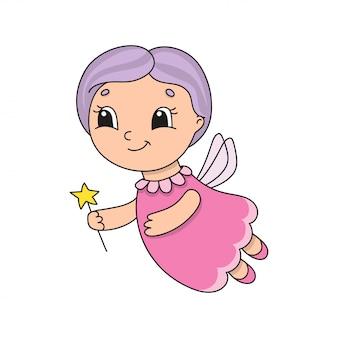Linda hada con el pelo morado. ilustración de vector plano lindo en estilo infantil de dibujos animados.