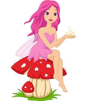 Linda hada rosa de dibujos animados sentado en una seta