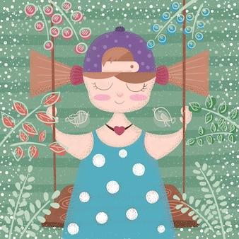 Linda, hermosa niña - ilustración de dibujos animados. dibujar a mano