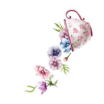 Linda ilustración acuarela de taza vintage con flores de anémona