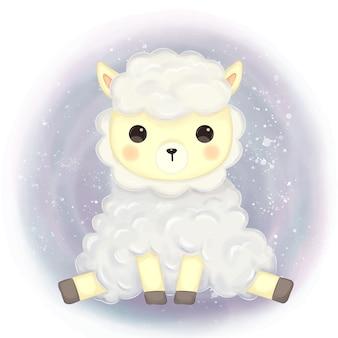 Linda ilustración de alpaca para decoración