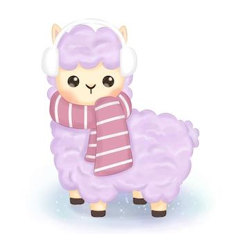 Linda ilustración de alpaca de invierno
