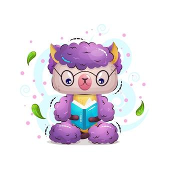 La linda ilustración animal de alpaca