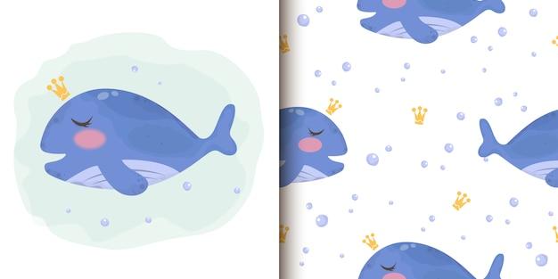 Linda ilustración de ballena azul y patten inconsútil