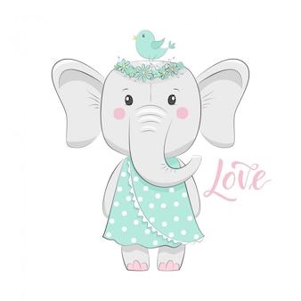 Linda ilustración con bebé elefante