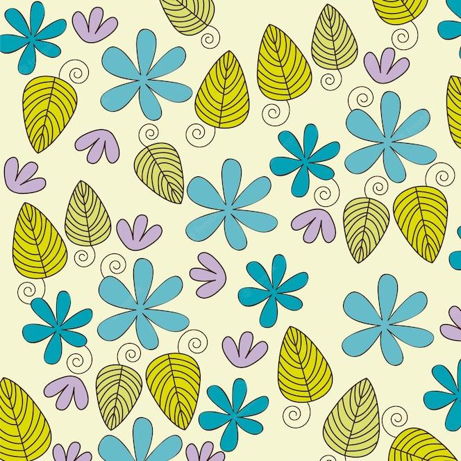 Linda ilustración de vector de fondo de flores y hojas