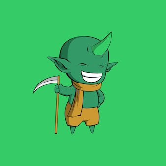 Linda ilustración de demonio verde