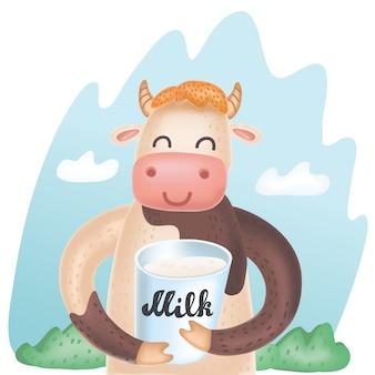Linda ilustración de dibujos animados de vector de vaca con cubo de leche