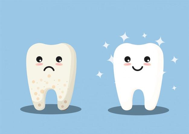 Linda ilustración de dientes limpios y sucios