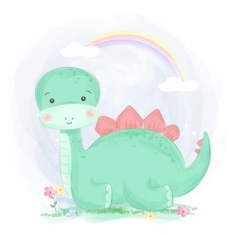 Linda ilustración de dinosaurio verde