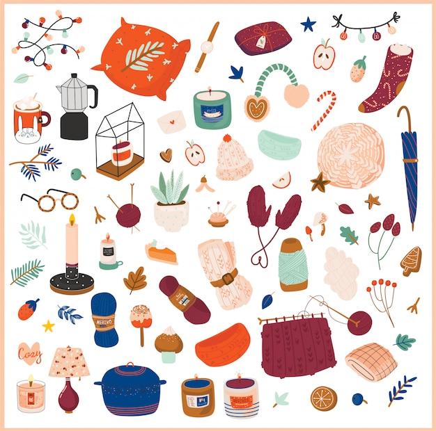 Linda ilustración con elementos acogedores de otoño e invierno. aislado en blanco vacaciones higge imprime. estilo danés escandinavo.