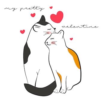Linda ilustración de gatos para san valentín