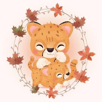 Linda ilustración de guepardo de mamá y bebé en acuarela
