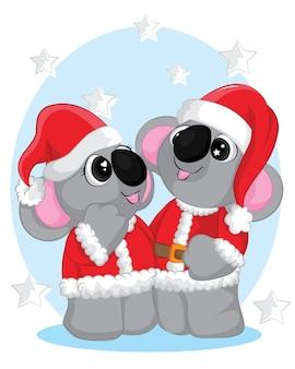 Linda ilustración de invierno con dos koalas en ropa de santa