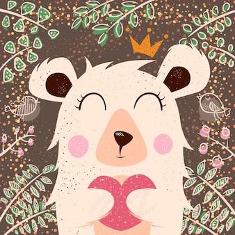 Linda ilustración de invierno personajes de oso dibujar a mano