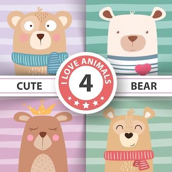 Linda ilustración de invierno personajes de oso