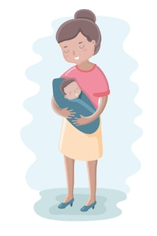 Linda ilustración de la madre y el bebé