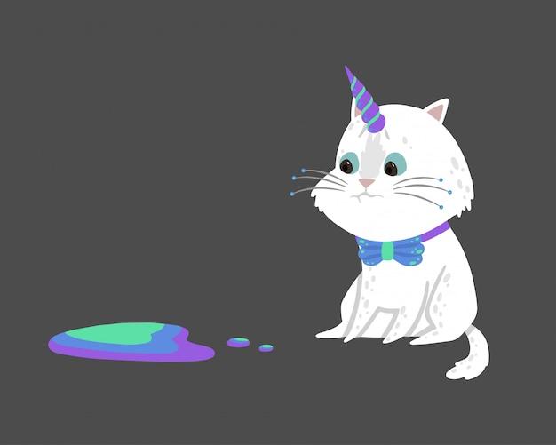 Linda ilustración con un mágico gato blanco con un cuerno de unicornio.