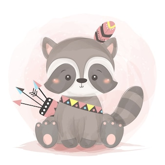 Linda ilustración de mapache boho