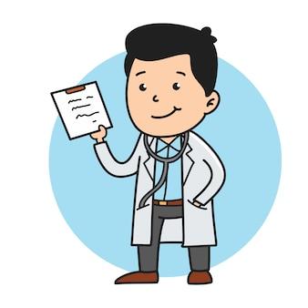 Linda ilustración de médico con dibujos animados de estilo handrawn.