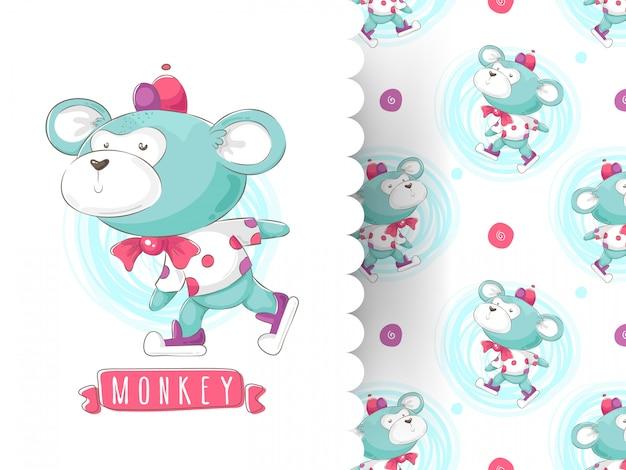 Linda ilustración con mono divertido