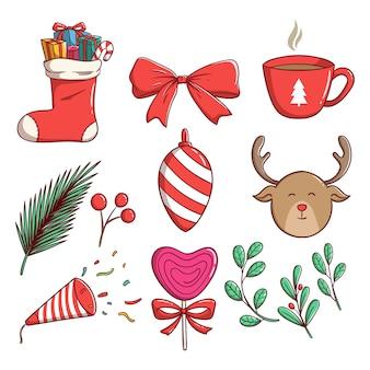 Linda ilustración navideña con estilo colorido