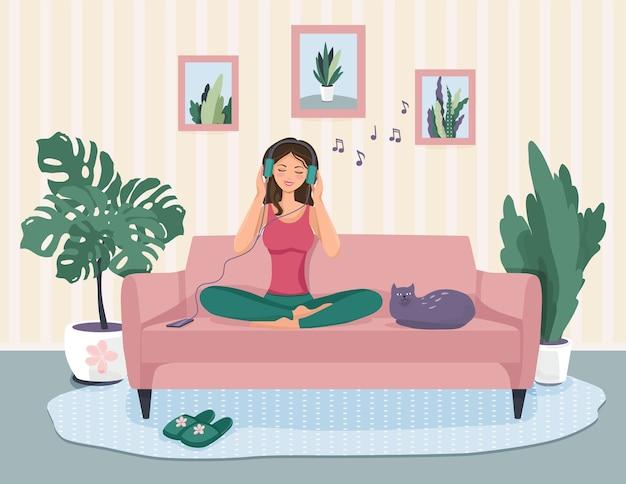 Linda ilustración de una niña sentada en el sofá. feliz escuchando música.