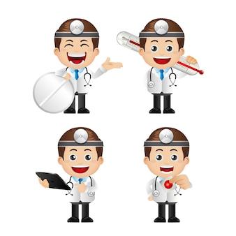 Linda ilustración de personajes de doctor