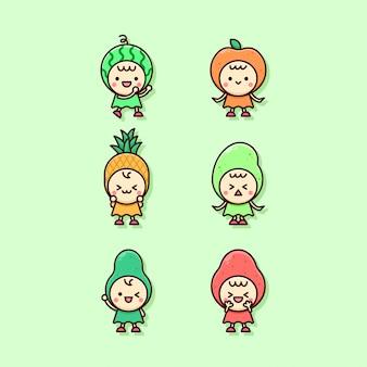 Linda ilustración de personajes de varias frutas