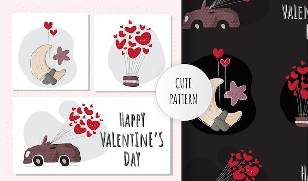 Linda ilustración plana feliz dia de san valentin