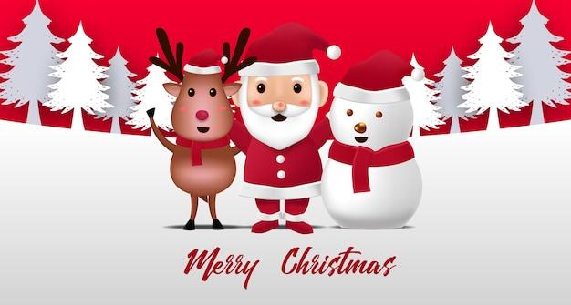 Linda ilustración de renos, muñeco de nieve y santa claus para feliz navidad