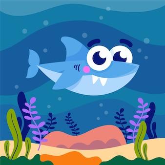 Linda ilustración de tiburón bebé