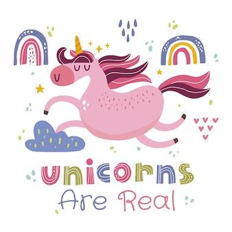 La linda ilustración de unicornio kawaii y el unicornio son citas reales en orzuelo escandinavo
