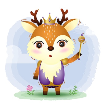 Una linda ilustración de vector de ciervo rey