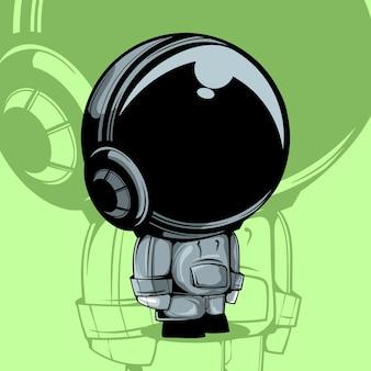 Linda ilustración vectorial de astronauta