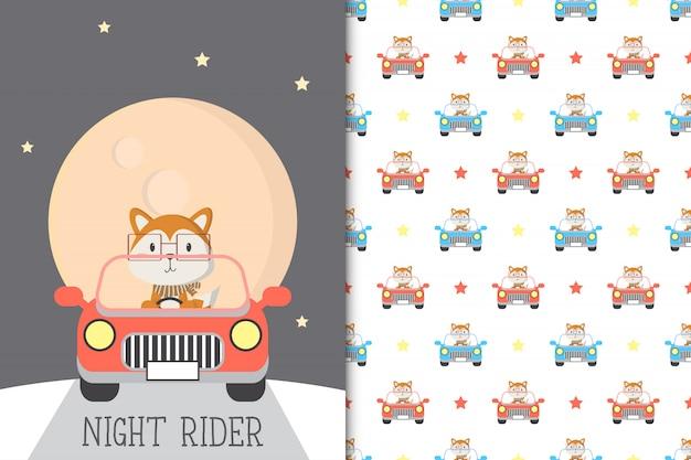 Linda ilustración de zorro conduciendo un automóvil con patrones sin fisuras en el fondo blanco