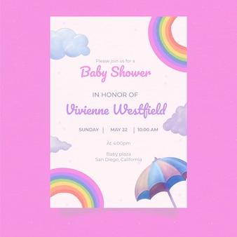Linda invitación para baby shower de chuva de amor