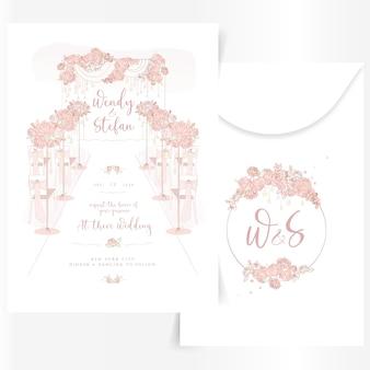 Linda invitación de boda con decoraciones de interiorismo.