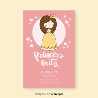 Linda invitación de fiesta de princesa