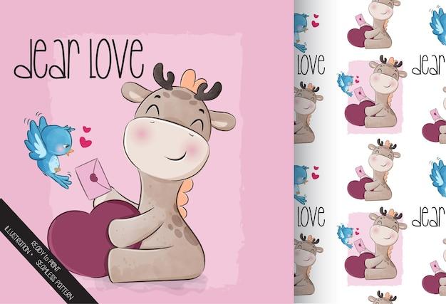 Linda jirafa animal encantadora con patrones sin fisuras