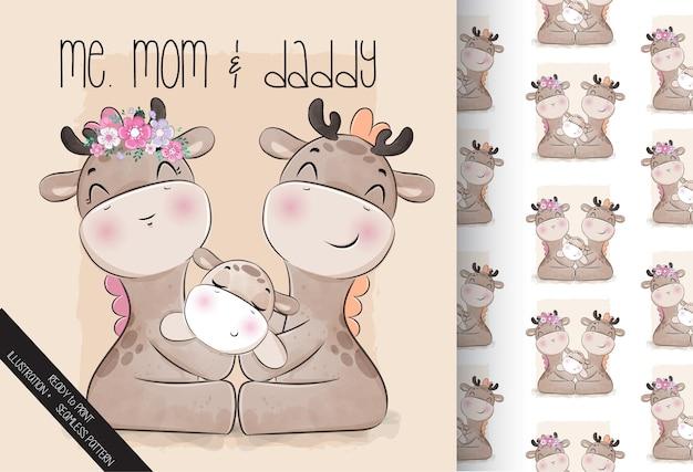 Linda jirafa animal pequeña familia con patrones sin fisuras